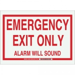 Brady 103616, Emergency Exit Only Alarm Will Sound Sign
