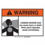 Brady 106018, Dioxide Gas Sign, Black/Gray/Orange on White