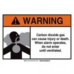 Brady 106026, Dioxide Gas Sign, Black/Gray/Orange on White