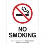 Brady 72295, 20″ x 14″ Fiberglass No Smoking Sign, Black/Red on White