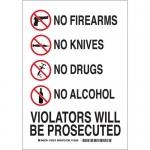 Brady 123508, 10″ x 7″ B555 No Firearms No Knives No Drugs… Sign