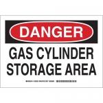 Brady 126232, Danger Gas Cylinder Storage Area Sign