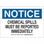 Brady 126435, Spills Must Be Reported Immediately Sign