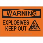 Brady 126551, 10″ x 14″ Polyester Warning Explosives Keep Out Sign