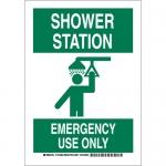 Brady 127384, Shower Station Emergency Use Only Sign
