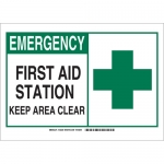 Brady 132224, First Aid Station Keep Area Clear Sign