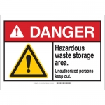 Brady 144640, Danger Hazardous Waste Storage Area… Sign