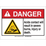 Brady 144804, ANSI Sign, Legend: Acids Contact Will Result…