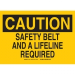 Brady 22421, Safety Belt & A Lifeline Required Sign