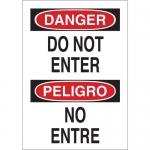 Brady 38103, 14″ x 10″ Aluminum Bilingual Danger Do Not Enter Sign