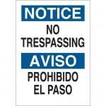 Brady 122404, No Trespassing Sign, Black/Blue on White