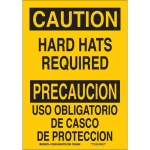 Brady 38585, Bilingual Caution Hard Hats Required Sign
