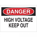 Brady 45472, Voltage Keep Out Sign, Black/Red on White