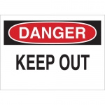 Brady 75478, Danger Keep Out Sign, Black/Red on White