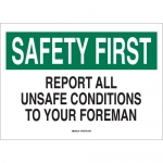 Brady 25324, Unsafe Conditions To Your Foreman Sign