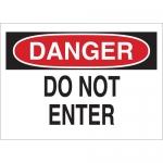 Brady 122714, Danger Do Not Enter Sign, Black/Red on White