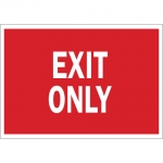 Brady 70976, 14″ x 20″ Fiberglass Exit Only Sign, White on Red
