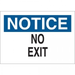 Brady 25762, 10″ x 14″ Polystyrene Notice No Exit Sign