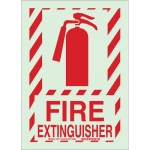 Brady 78260, 14″ x 10″ Polyester Fire Extinguisher Sign, Red on Glow
