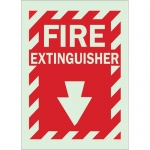 Brady 80162, 14″ x 10″ Polyester Fire Extinguisher Sign, Red on Glow