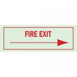 Brady 80232, 5″ x 14″ Polyester Fire Exit Sign, Red on Glow