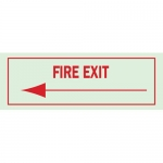 Brady 80234, 5″ x 14″ Polyester Fire Exit Sign, Red on Glow