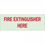 Brady 80242, Fire Extinguisher Here Sign, Red on Glow