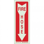 Brady 80244, 14″ x 5″ Polyester Fire Hose Sign, Red on Glow