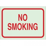 Brady 80249, 10″ x 14″ Polyester No Smoking Sign, Red on Glow