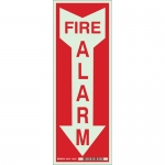 Brady 80223, 14″ x 5″ Polyester Fire Alarm Sign, Red on Glow