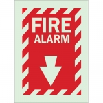 Brady 80161, 14″ x 10″ Polyester Fire Alarm Sign, Red on Glow