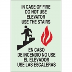 Brady 90555, Bilingual In Case of Fire Do Not Use… Sign