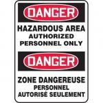 """Accuform FBMCHG028VS, Bilingual Danger Sign """"Hazardous Area – Auth…"""""""