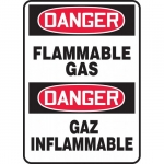"Accuform FBMCHG049VA, Aluminum Bilingual Sign ""Danger, Flammable Gas"""