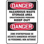 "Accuform FBMCHG106VS, Bilingual Danger Sign ""Hazardous Waste Stora…"""
