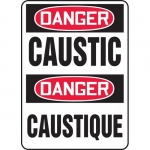 "Accuform FBMCHL010VP, Plastic Bilingual Sign ""Danger, Caustic"""