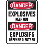 """Accuform FBMCHL042XT, Bilingual Sign """"Danger, Explosives Keep Out"""""""