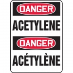 "Accuform FBMCHL207VP, Plastic Bilingual Sign ""Danger, Acetylene"""