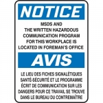 """Accuform FBMCHL814VP, Notice Sign """"MSDS and The Written Hazardous"""""""