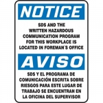 """Accuform FBMCHM810VS, OSHA Notice Safety Sign """"SDS And The Written…"""""""
