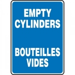 "Accuform FBMCPG516XT, Bilingual Sign ""Empty Cylinders"" Dura-Plastic"
