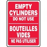 """Accuform FBMCPG526XT, Bilingual Sign """"Empty Cylinders, Do Not Use"""""""