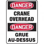 "Accuform FBMCRT154VS, Bilingual Sign ""Danger, Crane Overhead"""