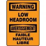 "Accuform FBMECR306XL, Bilingual Safety Sign ""Warning, Low Headroom"""