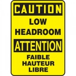 """Accuform FBMECR622XT, Bilingual Safety Sign """"Caution, Low Headroom"""""""