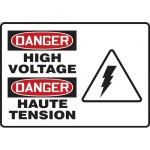 """Accuform FBMELC028VP, Bilingual OSHA Danger Safety Sign """"High Voltage"""""""
