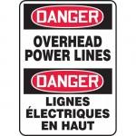 """Accuform FBMELC054XT, Bilingual Sign """"Danger, Overhead Power Lines"""""""