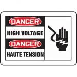"""Accuform FBMELC079XT, 7″ x 10″ Bilingual Sign """"Danger, High Voltage"""""""