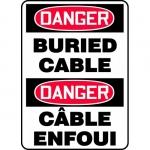 "Accuform FBMELC108VS, Bilingual Safety Sign ""Danger, Burier Cable"""