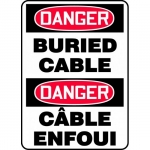 "Accuform FBMELC112VS, Bilingual Safety Sign ""Danger, Burier Cable"""